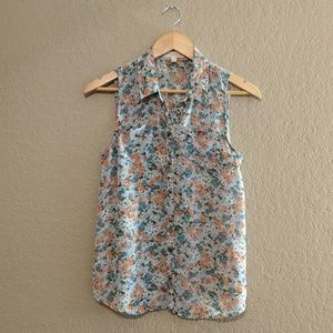 love FIRE blue and coral floral button up tank